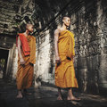 Contemplating Monk in Cambodia Culture Concept Royalty Free Stock Photo