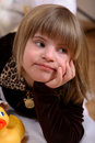 Contemplative Handicapped Girl Stock Photo