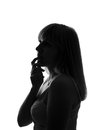 Contemplative woman beautiful isolated silhouette of Stock Photos