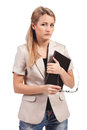 Contemplative young businesswoman looking at camera Royalty Free Stock Photos