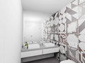 Contemporary bathroom interior render design of bright d Royalty Free Stock Images