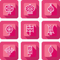 Contemporary chinese lanterns design icon set in paper cut style Royalty Free Stock Photos