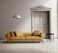 Contemporary classic living room beige leather sofa white wood floor Stock Images