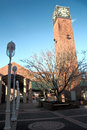 Contemporary clock tower beautiful in the center of a shopping area Stock Photo