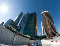 Contemporary construction skyscrapers building yard by winter of office buildings or towers in the moscow city russia an example Stock Image