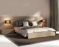 Contemporary elegant dark beige luxury bedroom