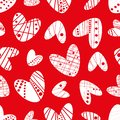 Contemporary funky stencil effect white hearts seamless vector pattern on red background