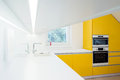 Contemporary kitchen interior in yellow and white combination Stock Photos