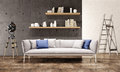 Contemporary living room loft interior industrial style Royalty Free Stock Images