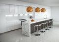 Contemporary minimal white kitchen Royalty Free Stock Image