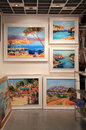 Contemporary paintings at art gallery in saint paul de vence france may famous town of painters and galleries Stock Photos