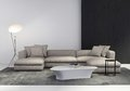 Contemporary stylish living room interior with sofa coffe table side table floor light and rug Stock Photo