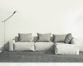 Contemporary white living room d with sofa and grey rug Stock Images