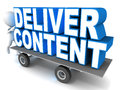 Content delivery concept deliver on a cart little d man giving it a push Royalty Free Stock Image