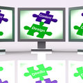 Content design puzzle screen shows promotional material and layo showing layout Stock Photos