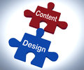 Content design puzzle shows promotional material and layout showing Royalty Free Stock Images