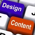 设计和content keys mean presentation of company广告 免版税库存照片
