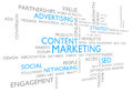 Content marketing through advertising social networking and seo word cloud of business ideas related to the use of media Stock Photos