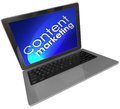 Content marketing laptop computer digital outreach words on a screen with blue background to illustrate customer and advertising Stock Photo