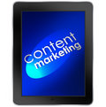 Content marketing tablet computer mobile digital words on a to illustrate online business communication and customer or audience Stock Photos