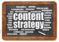 Content strategy word cloud on isolated vintage blackboard with a chalk Stock Photos