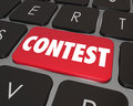 Contest computer key button enter jackpot prize drawing online word on a red or to illustrate an challenge game or competition Stock Images