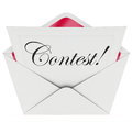 Contest word entry form letter envelope invitation to play in script text on an or invite you a game or take a challenge compete Stock Photos