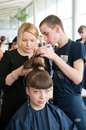 Contest young master moscow april unidentified orphan children age compete in hairdressing at the on april in moscow orphans were Stock Photo