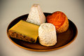 Continenal  cheese selection Stock Photos