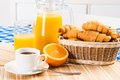 Continental breakfast coffee orange croissant and juice Royalty Free Stock Images