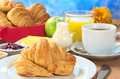 Continental Breakfast with Croissant Royalty Free Stock Image