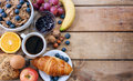 Continental breakfast food with background Royalty Free Stock Photos