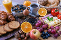 Continental breakfast food with background Stock Image