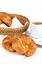 Continental breakfast fresh of croissant and coffee Royalty Free Stock Photography