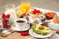 Continental breakfast healthy on wooden table Royalty Free Stock Photos
