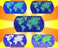 Continents and oceans. A set of images in a mosaic style