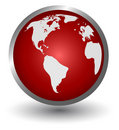 Continents on a red button Royalty Free Stock Photo
