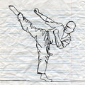 Continuous line drawing of karate athlete