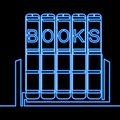 Continuous one line drawing books neon concept