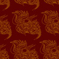 Continuous pattern with golden ornament on maroon background Royalty Free Stock Image