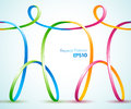 Continuous ribbon figures holding hands design of Royalty Free Stock Photography
