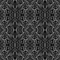 Contoul pattern contour black and white seamless floral Royalty Free Stock Images