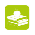 Contour books with red apple on top Royalty Free Stock Photo