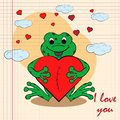 Contour color childrens illustration little frog hugs heart with I love you drawn on a notebook in the box