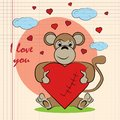 Contour color childrens illustration little monkey hugs heart with I love you drawn on a notebook in the box