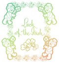 Contour color gradient frame with shamrock, teddy bear. Raster