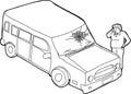 Contour de l homme et de véhicule endommagé Image stock