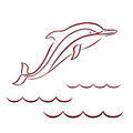 Contour of a dolphin in red and black colors the sea waves hand drawing vector illustration Royalty Free Stock Images