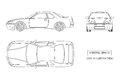 Contour drawing of the car on a white background. Top, front and side view. The vehicle in outline style Royalty Free Stock Photo