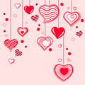 Contour hearts hanging on pink background Royalty Free Stock Image